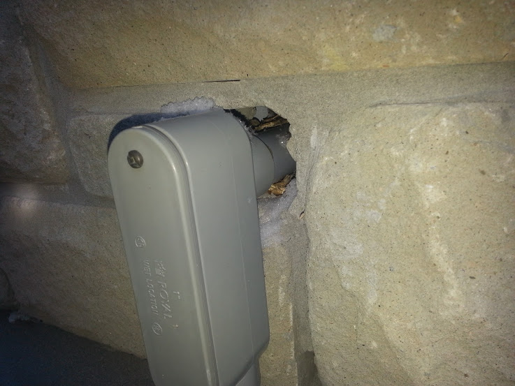 Mice entering this house through an unsealed utility connection
