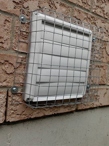 A wall vent cover protected from squirrel entry