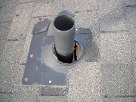 Squirrels chewed the rubber mat around this plumbing vent to gain entry