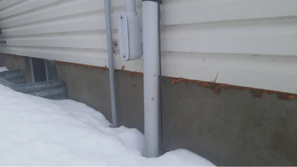 This homeowner used spray foam in an attempt to keep mice from entering the basement
