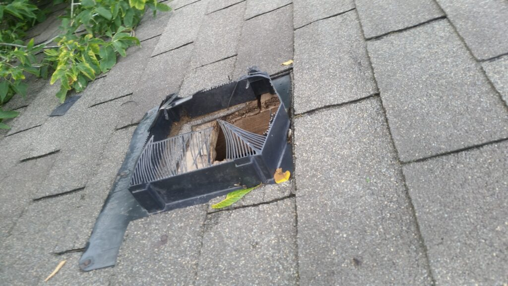 Plastic roof vents can be damaged by raccoons to allow them access into the attic