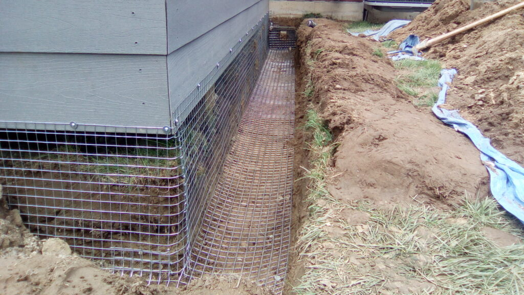 Protecting a deck from skunk intrusion by burying heavy gauge screen in the ground.