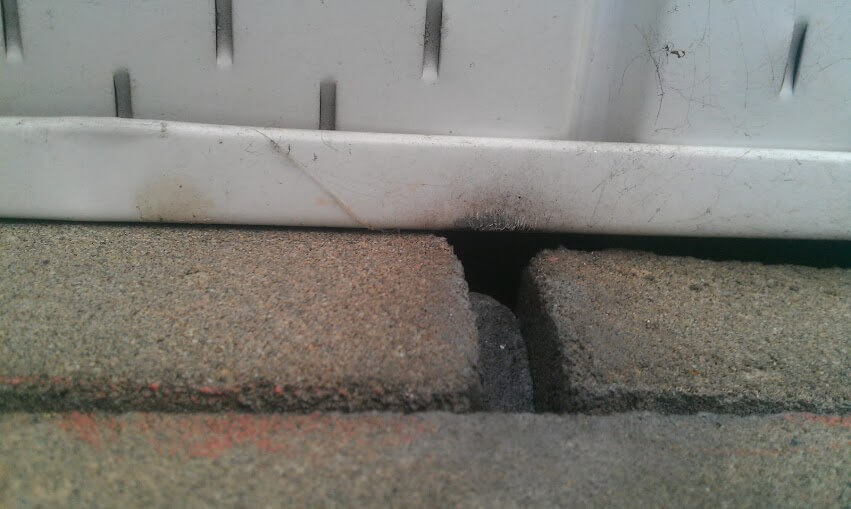 Gaps between soffit and brick are a common mouse entry point